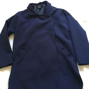 Zara Navy Modern Fit Coat